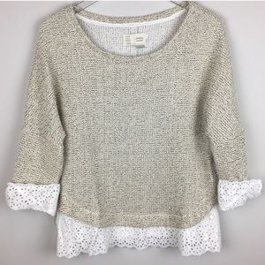 Anthropologie Light Sweater With Scalloped Lace